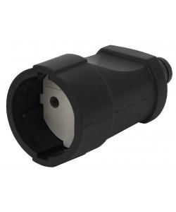 Rx3-B ЭРА Розетка кабельная б/з прямая ПВХ 10A черная (20/240/1920)