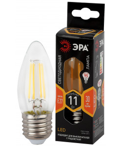 F-LED B35-11w-827-E27 ЭРА (филамент, свеча, 11Вт, тепл, E27) (10/100/5000)