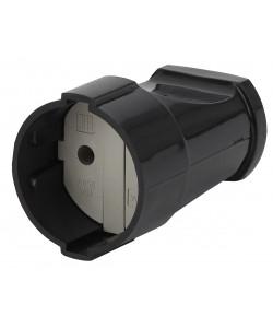 Rx1-B ЭРА Розетка кабельная б/з прямая 10A черная (24/384/4608)
