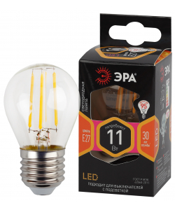 F-LED P45-11w-827-E27 ЭРА (филамент, шар, 11Вт, тепл, E27) (10/100/4000)
