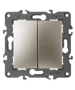 14-1104-04 ЭРА Выключатель двойной, 10АХ-250В, IP20, Эра Elegance, шампань (10/100/3000)