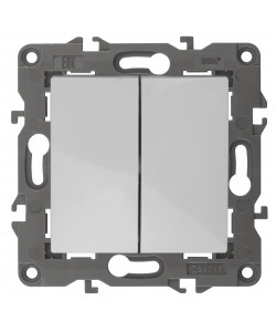 14-1104-01 ЭРА Выключатель двойной, 10АХ-250В, IP20, Эра Elegance, белый (10/100/3000)