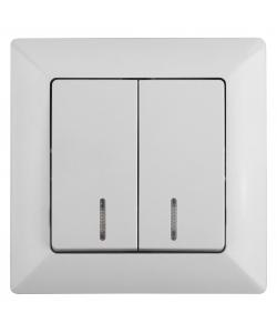 4-105-01 Intro Выключатель двойной с подсветкой, 10А-250В, СУ, Solo, белый (10/200/2400)