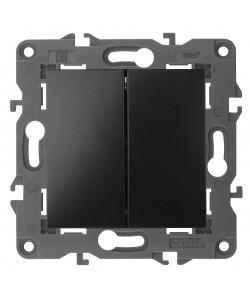 14-1104-05 ЭРА Выключатель двойной, 10АХ-250В, IP20, Эра Elegance, антрацит (10/100/3500)