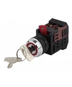 ЭРА Переключатель АKS-22 черный с ключ. 2 полож. I-O 1з+1р (10/400/3200)