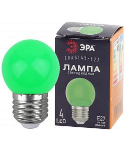 ERAGL45-E27 ЭРА LED Р45-1W-E27 ЭРА (диод. шар, зел., 4SMD, 1W, E27, для белт-лайт) (10/100/6000)