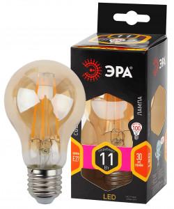 F-LED A60-11W-827-E27 gold ЭРА (филамент, груша золот., 11Вт, тепл, Е27) (10/100/1500)