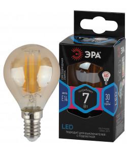 F-LED P45-7W-840-E14 gold ЭРА (филамент, шар золот, 7Вт, нейтр, E14) (10/100/3600)