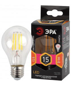 F-LED A60-15W-827-E27 ЭРА (филамент, груша, 15Вт, тепл, Е27) (10/100/1500)