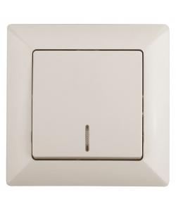4-102-02 Intro Выключатель с подсветкой, 10А-250В, СУ, Solo, сл.кость (10/200/2400)