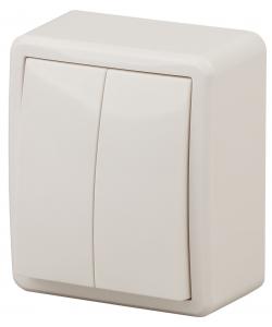 11-1205-02 ЭРА Выключатель двойной с подсветкой, 10АХ-250В, IP20, ОУ, Эра Эксперт, сл.кость (16/160/