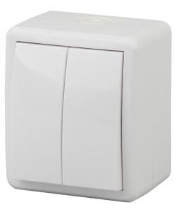 11А-1404-01 ЭРА Выключатель двойной IP54, 10АХ-250В, ОУ, Эра Эксперт, Al+Cu,белый (16/160/2880)