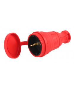 R8-RED-IP44 ЭРА Разъём каучуковый c/з  прямой 16A IP44 красный (25/250/1500)