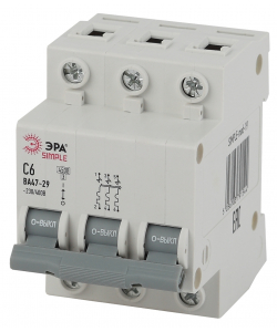 SIMPLE-mod-19 ЭРА SIMPLE Автоматический выключатель 3P 6А (C) 4,5кА ВА 47-29 (4/60/1200)