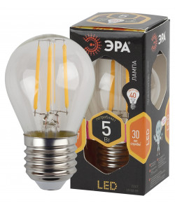 F-LED P45-5W-827-E27 ЭРА (филамент, шар, 5Вт, тепл, E27) (10/100/3600)