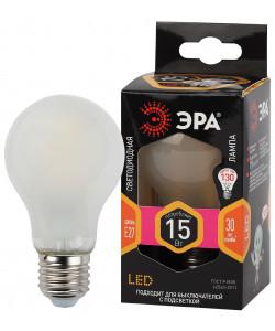 F-LED A60-15W-827-E27 frost ЭРА (филамент, груша мат., 15Вт, нейтр, Е27) (10/100/1500)