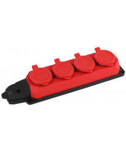 K-4e-RED-IP44 ЭРА Колодка каучуковая с/з 4гн 16A IP44 красная (7/70/420)