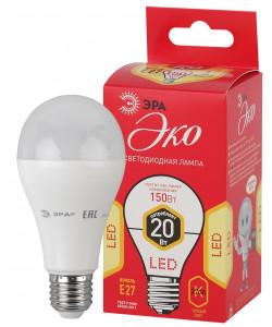 ECO LED A65-20W-827-E27 ЭРА (диод, груша, 20Вт, тепл, E27) (10/100/2000)