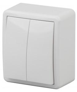 11А-1204-01 ЭРА Выключатель двойной, 10АХ-250В, ОУ, Эра Эксперт, Al+Cu, белый (16/160/2880)