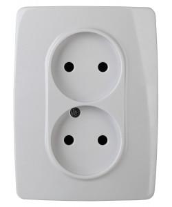 12-2007-01 ЭРА Розетка 2X2P, 16А-250В, б.л., Эра12, белый (10/100/1800)