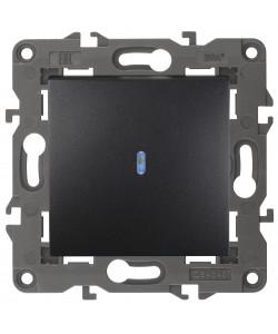 14-1102-05 ЭРА Выключатель с подсветкой, 10АХ-250В, IP20, Эра Elegance, антрацит (10/100/3000)
