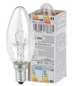 ЭРА ДС (B36) свечка 60Вт 230В Е14 в гофре (100/6000)