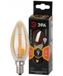 F-LED B35-9W-827-E14 gold ЭРА (филамент, свеча золот, 9Вт, тепл, E14) (10/100/5000)