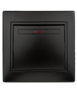 1-102-05 Intro Выключатель с подсветкой, 10А-250В, IP20, СУ, Plano, антрацит (10/200/2400)