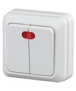 2-105-01 Intro Выключатель двойной с подсветкой, 10А-250В, IP20, ОУ, Quadro, белый (10/200/3600)