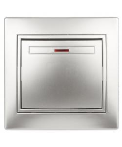 1-102-03 Intro Выключатель с подсветкой, 10А-250В, IP20, СУ, Plano, алюминий (10/200/2400)