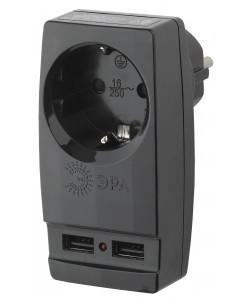 "SP-1e-USB-B ЭРА Адаптер ""Polynom"" 1гн 220V + 2xUSB 2100mA, c заземл, (черный) (10/60/1440)"