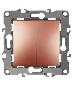 12-1004-14 ЭРА Выключатель двойной, 10АХ-250В, IP20, без м.лапок, Эра12, медь (10/100/2500)