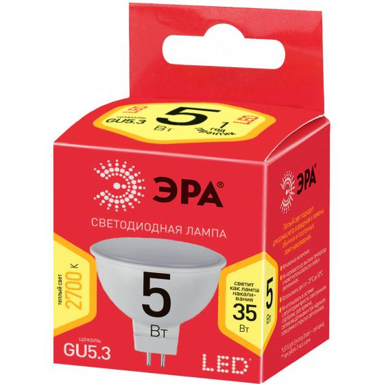 ECO LED MR16-5W-827-GU5.3 ЭРА (диод, софит, 5Вт, тепл, GU5.3) (10/100/3200)