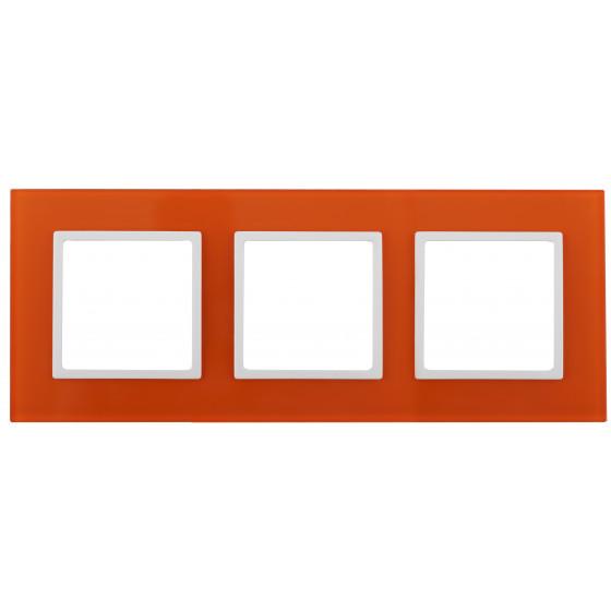 14-5103-22 ЭРА Рамка на 3 поста, стекло, Эра Elegance, оранжевый+бел (5/25/900)