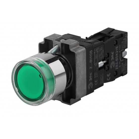 ЭРА Кнопка управления LAY5-BW3361 с подсветкой зеленый 1з (20/200/6000)