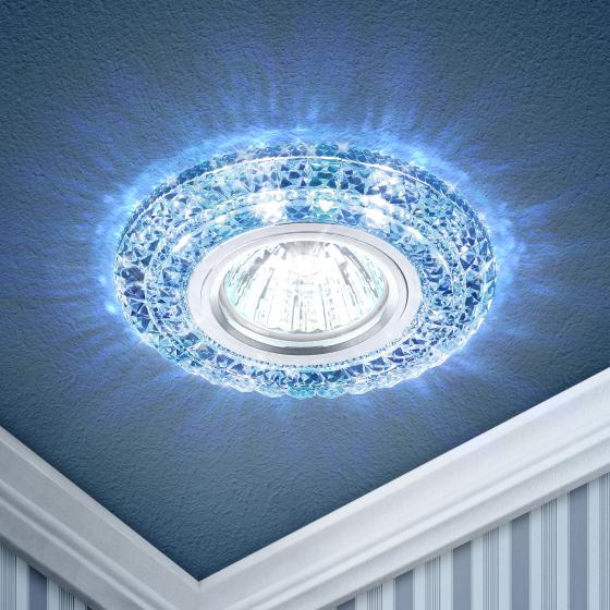 DK LD3 SL/WH+BL Светильник ЭРА декор cо светодиодной подсветкой( белый+голубой), прозрачный (50/1750)