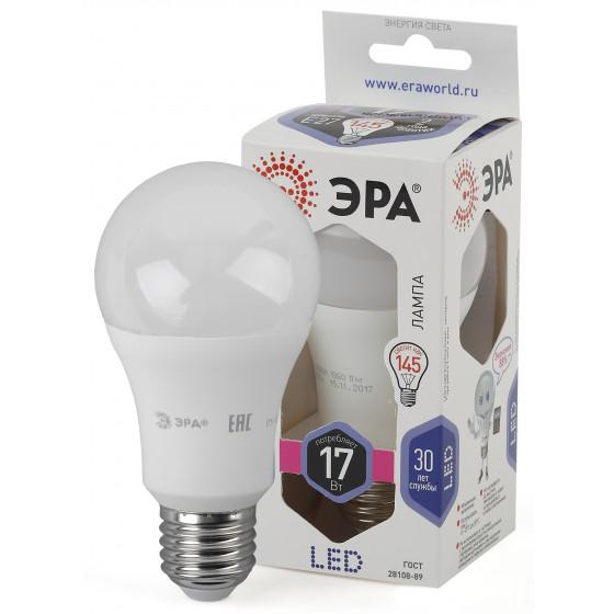 LED A60-17W-860-E27 ЭРА (диод, груша, 17Вт, хол, E27), (10/100/1200)