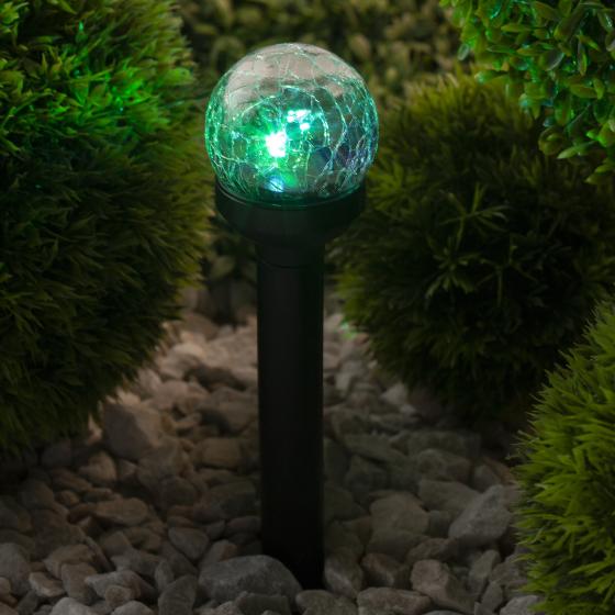 SL-PL33-CRAC ЭРА Садовый светильник на солнечной батарее, пластик,стекло, черный, 33 см (12/672)