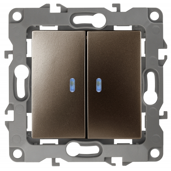 12-1106-13 ЭРА Переключатель двойной, 10АХ-250В, IP20, Эра12, бронза (10/100/2500)