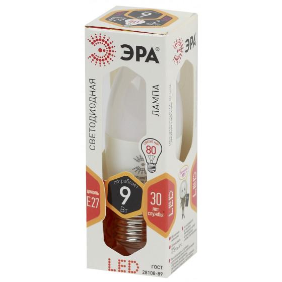LED B35-9W-827-E27 ЭРА (диод, свеча, 9Вт, тепл, E27) (10/100/3500)