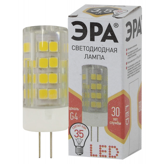 Лампочка светодиодная ЭРА STD LED JC-3,5W-220V-CER-827-G G4 3,5Вт керамика капсула теплый белый свет