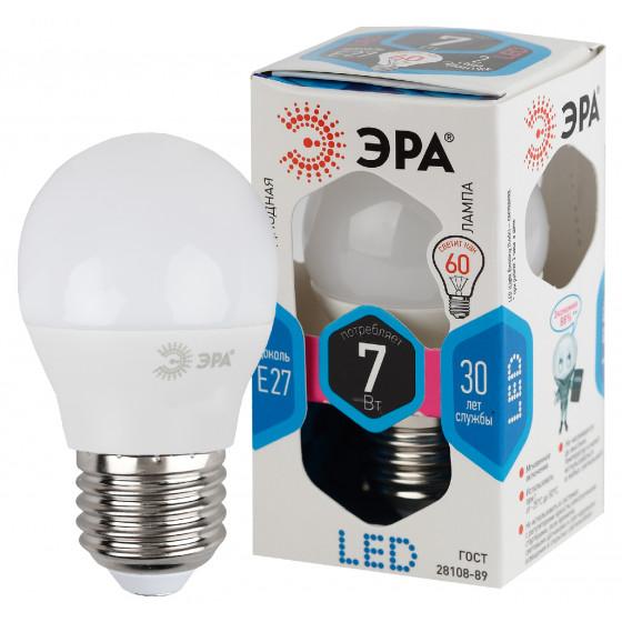 LED P45-7W-840-E27 ЭРА (диод, шар, 7Вт, нейтр, E27), (10/100/3600)