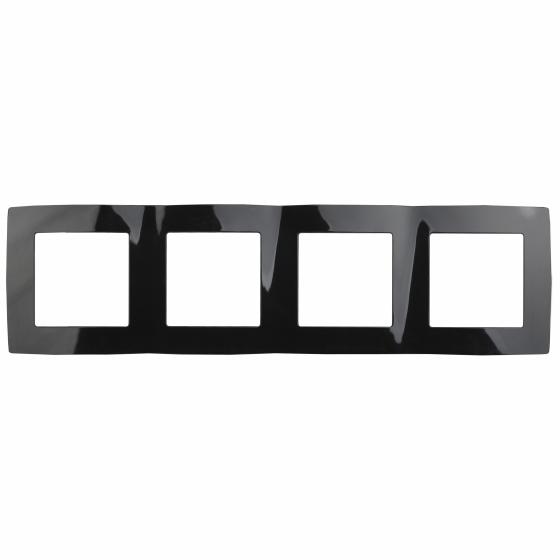12-5004-06 ЭРА Рамка на 4 поста, Эра12, чёрный (10/100/1600)