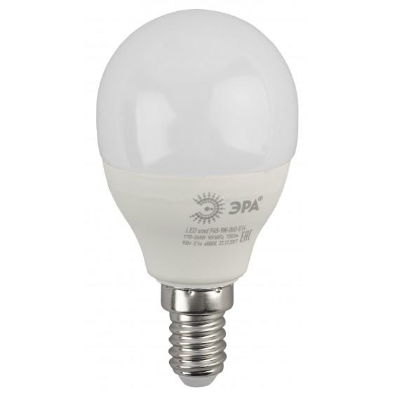 LED P45-9W-860-E14 ЭРА (диод, шар, 9Вт, хол, E14) (10/100/3600)
