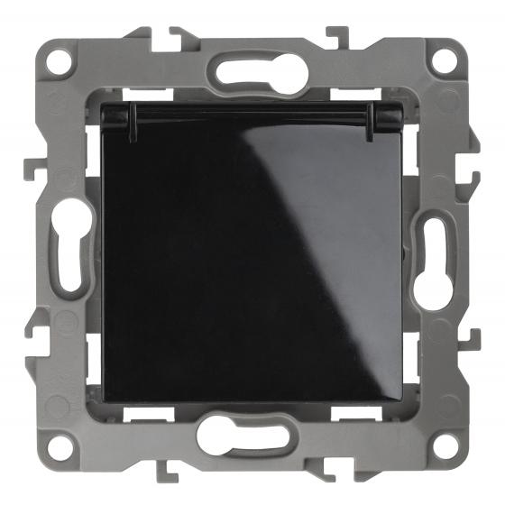 12-2103-06 ЭРА Розетка 2P+E Schuko со шторками с крышкой, 16A-250В, IP20, Эра12, чёрный (10/100/3200