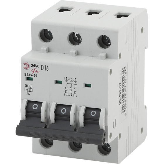 Автоматический выключатель ЭРА PRO NO-902-232 ВА47-29 3Р 5А 4,5кА кривая D