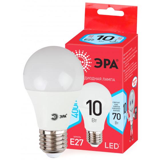 Лампочка светодиодная ЭРА RED LINE ECO LED A60-10W-840-E27 E27 / Е27 10Вт груша нейтральный белый свет