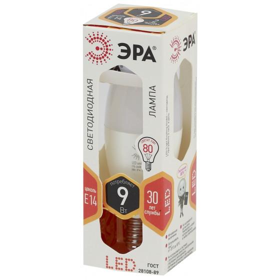 Лампочка светодиодная ЭРА STD LED B35-9W-827-E14 E14 / Е14 9Вт свеча теплый белый свет