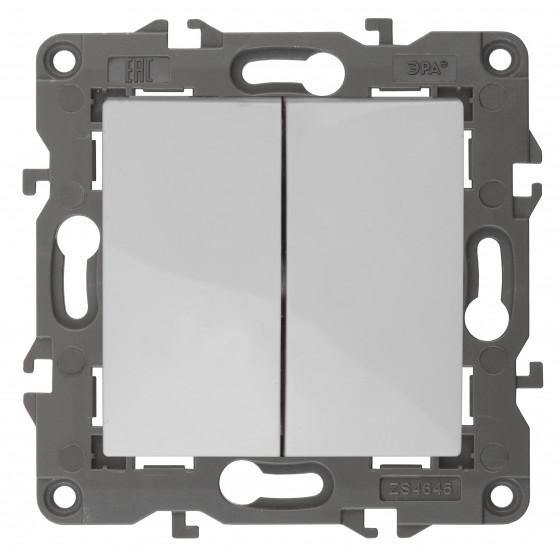 14-1106-01 ЭРА Переключатель двойной, 10АХ-250В, IP20, Эра Elegance, белый (10/100/3000)