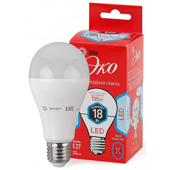 ECO LED A65-18W-840-E27 ЭРА (диод, груша, 18Вт, нейтр, E27) (10/100/1200)
